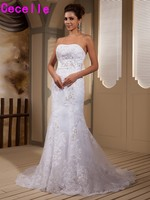 White Mermaid Beaded Lace Appliques Wedding Dresses Corset Back Strapless Country Western Bridal Gowns Robe De