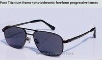 Pure Titanium Glasses Frame Photochromic Inside Progressive Lenses The Elderly Multi Focal Bifocal Presbyopia Sunglasses