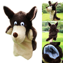 Lovely Animal Plush Hand Puppet Childhood Soft Toy Wolf Shape Story Pretend Playing Dolls Gift Finger Puppets Toy On Hand