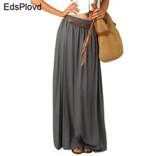 EdspLovd плиссированная винтажная юбка макси, жемчужная шифоновая женская элегантная длинная юбка, двухслойная длинная подкладка, летняя серая юбка AS19