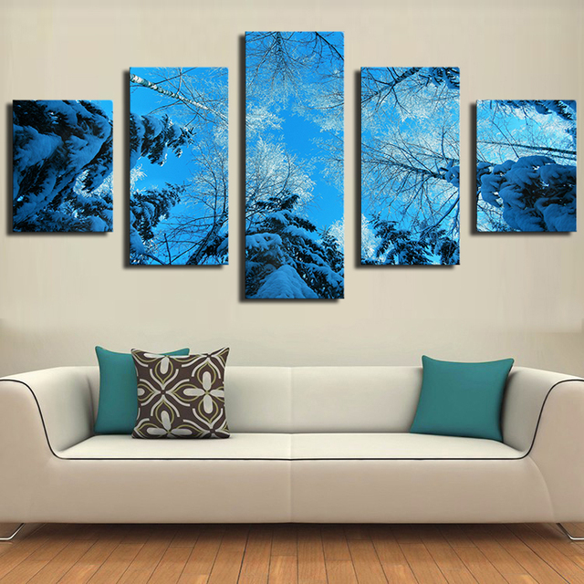5 panels winter forest fir tree snow winter modern art canvas wall paintings decorative canvas prints