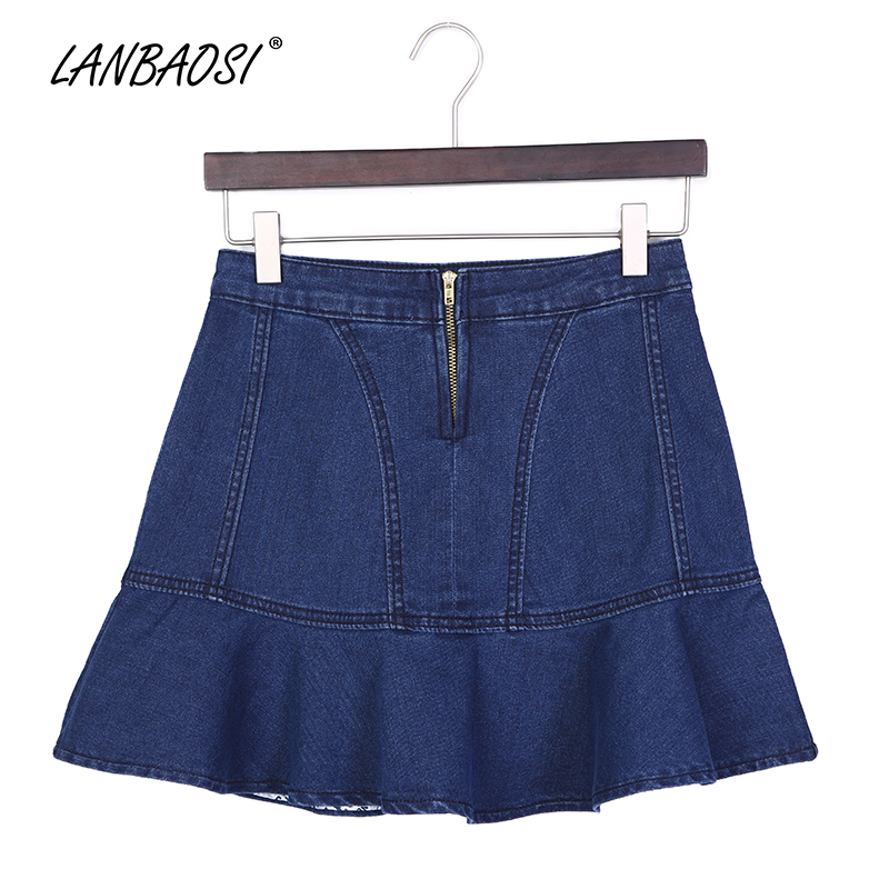 d2ce2be87d LANBAOSI Blue Denim Skort for Women Cowboy Skirt High Waist Jeans Skirts  Female Girls Sexy Casual Pleated Mini Short faldas-in Skirts from Women's  Clothing ...