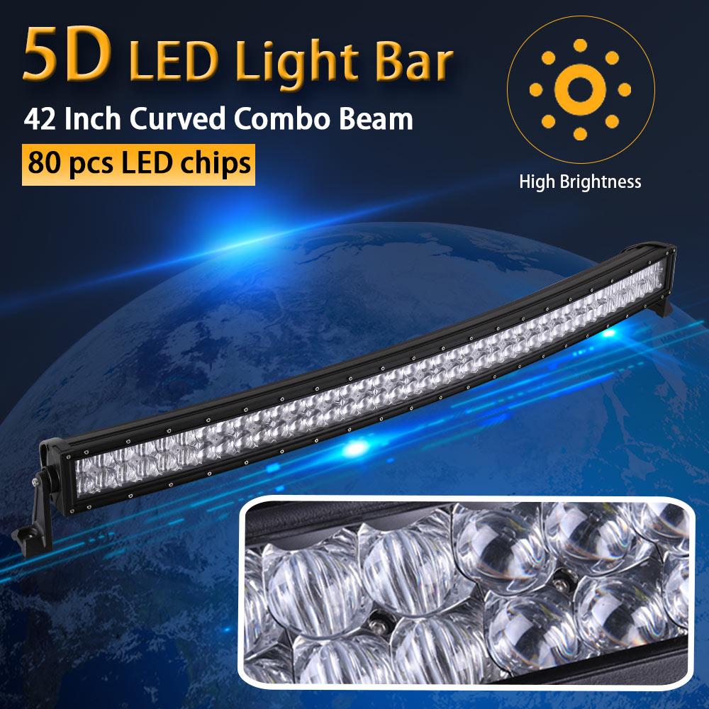 Настоящее Мощность 5D 42 дюймов 106 см изогнутые светодиодный свет бар 12 В 24 В комбо луча для бездорожья лодка автомобиль Грузовик ATV внедорожни...