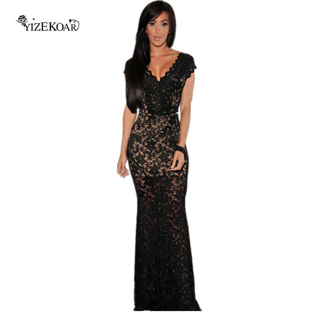 Orchid Black Red Lace Wedding Guest Illusion Low Back Long Evening Elegant Dress