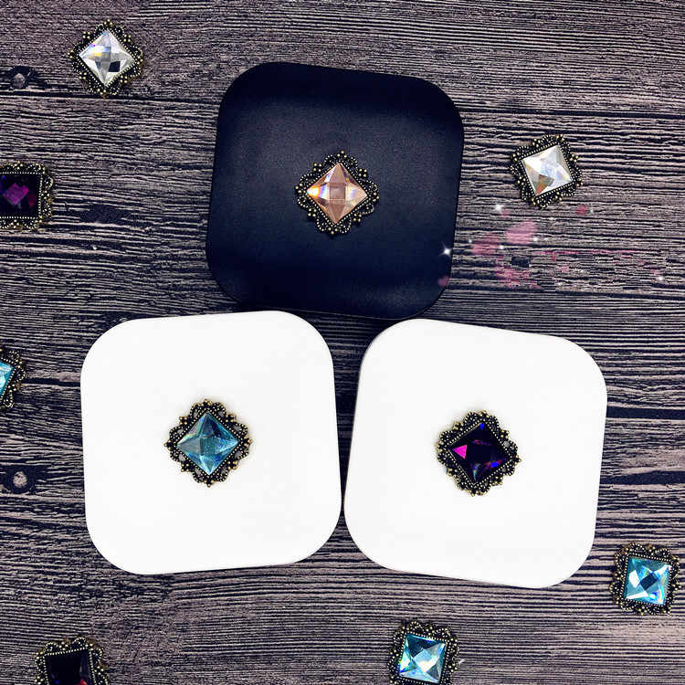 LIUSVENTINA DIY Alloy cute alloy square gemstone contact lens case for eyes contact lenses box for glasses