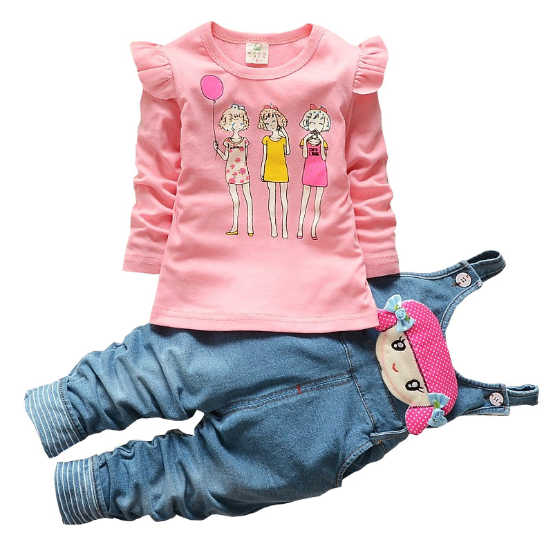 BibiCola New Baby Girl Spring Autumn Fashion Clothing Set Long-sleeved Cartoon Girl T-shirt+Pants Newborn Sport Outfits Clothes 2017 new cartoon pants brand baby cotton embroider pants baby trousers kid wear baby fashion models spring and autumn 0 4 years