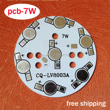 10 pcs / lot 7W LED PCB, 49mm for 7pcs LEDs, aluminum plate base, Aluminum PCB Printed Circuit Boards, high power 7W LED DIY PCB