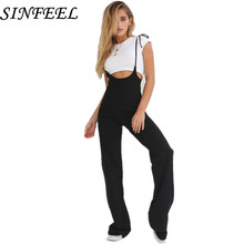 SINFEEL Elegant Sexy Spaghetti Strap Womens Jumpsuit Sleeveless Backless Casual Straight Jumpsuits Leotard Overalls Long Pants