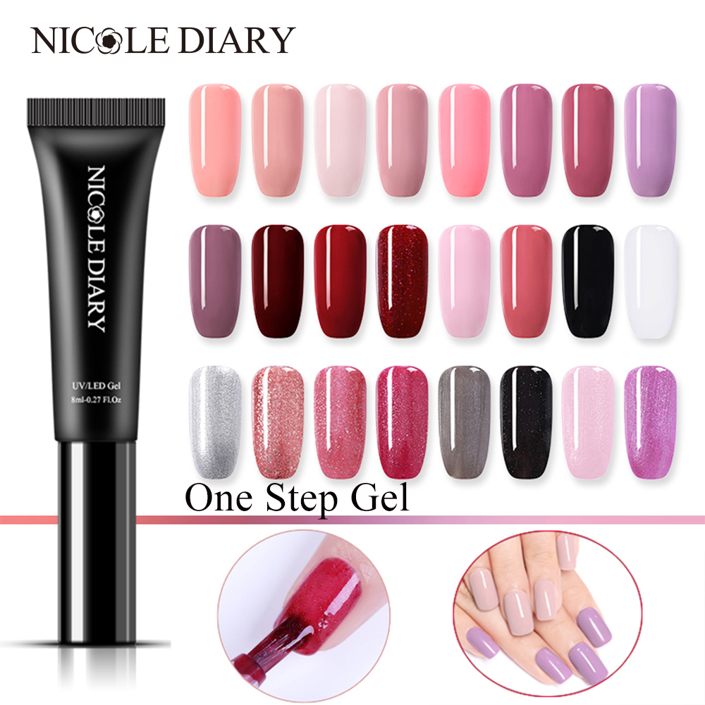 NICOLE DIARY 3 In 1 One Step Nail Gel Polish Nail Pen Not Need Base Top Coat LED UV Lamp Gel Lacquer Nail Art 8ML