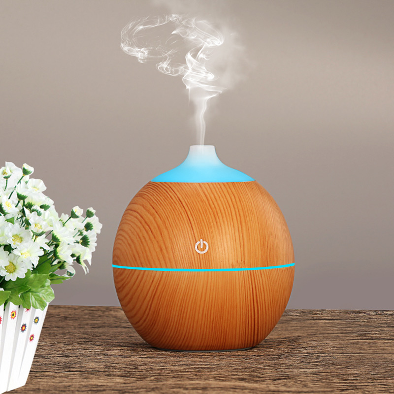 USB Aroma Essential Oil Diffuser 130ml Cool Mist Maker Ultrasonic Wood Grain Air Humidifier LED Night Lightsfor Home