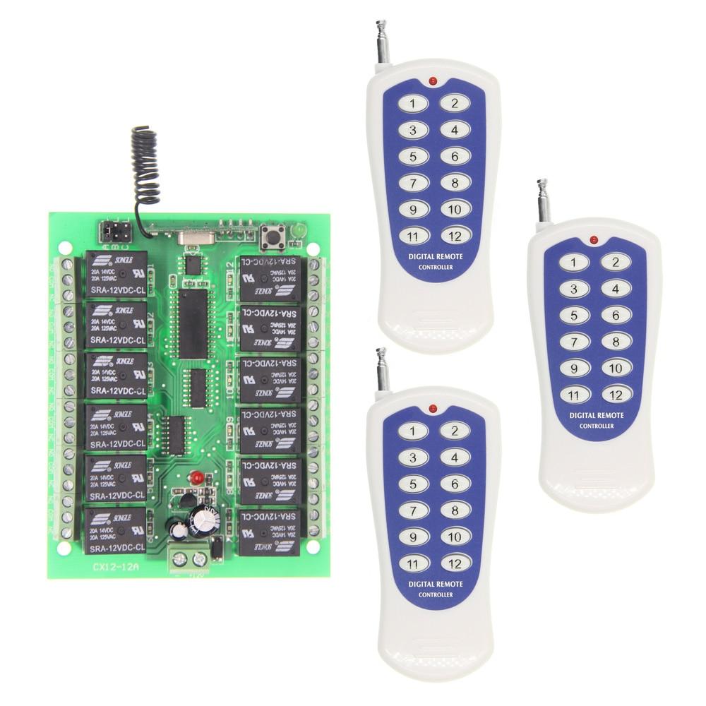 DC 12V 24V 10A 12 CH 12CH RF Wireless Remote Control Switch System,315/433.92 Mhz, 3 X Transmitter + Receiver dc 12v 24v 10a 8 ch 8ch radio controller rf wireless remote control switch system 315 433 92 mhz 3 x transmitter receiver