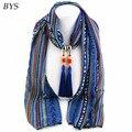 Multicolor Degradado Poliéster Calor Del Invierno de la Bufanda de La Joyería Colgante de Perlas Collar de Las Mujeres Bufandas Marca Diseñadores