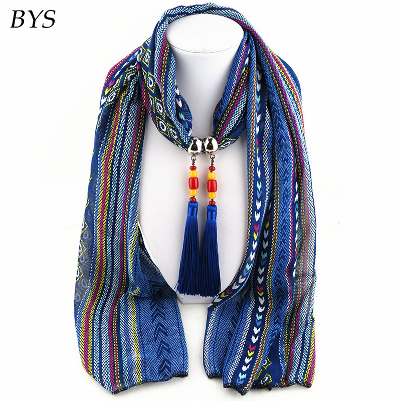 Multicolored Gradient Polyester Beaded Pendant Winter Warmth Jewelry Scarf Necklace Women Scarfs Designers Brand