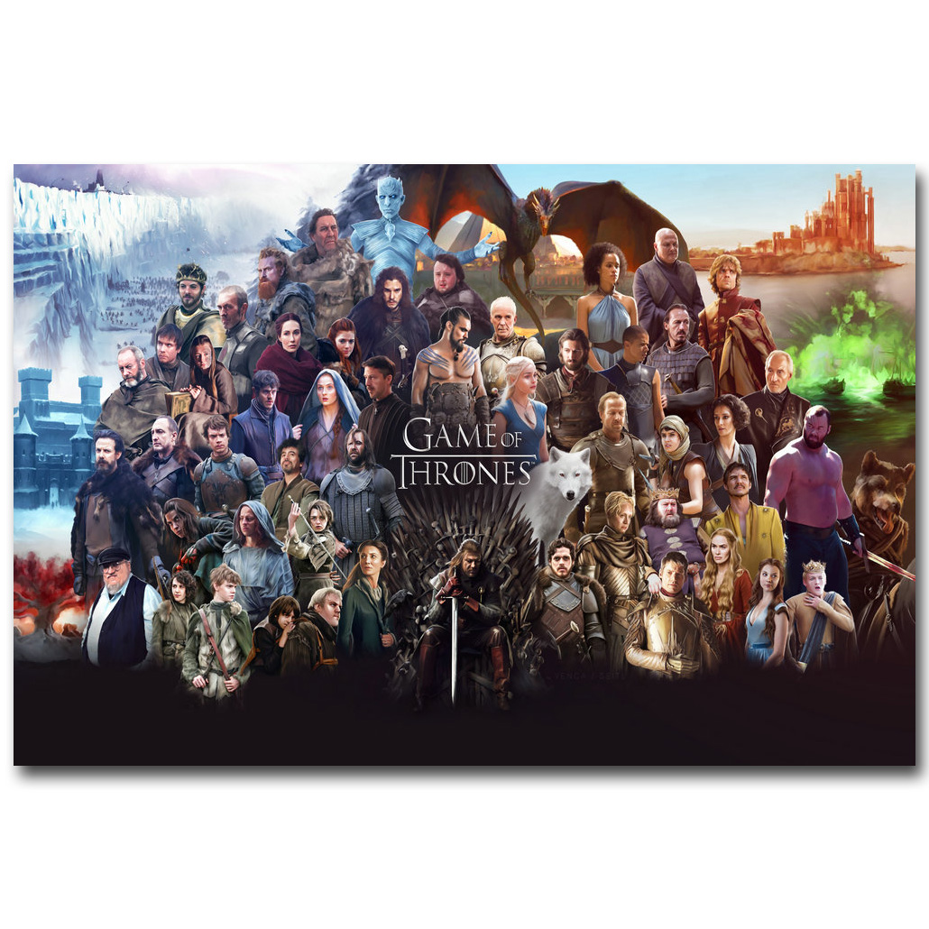 Game Of Thrones All Characters Art Silk Fabric Poster