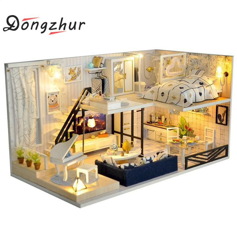Diy Wooden Doll Houses Miniature Dollhouse Furniture Kit Toys Children's Learning Handmade Hands-on Ability Doll House Assemble wooden handmade dollhouse miniature diy kit caravan