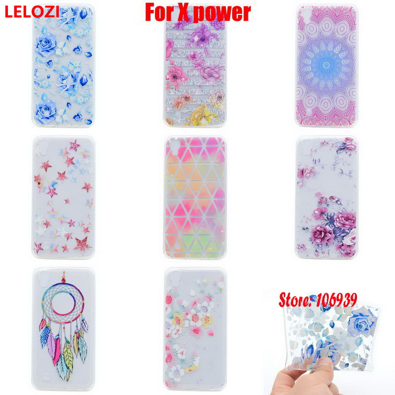 LELOZI Soft Transparent TPU Clear Silicone Fundas Coque Case Cover For LG X power Abstract Cute Cherry New Deluxe Dandelion