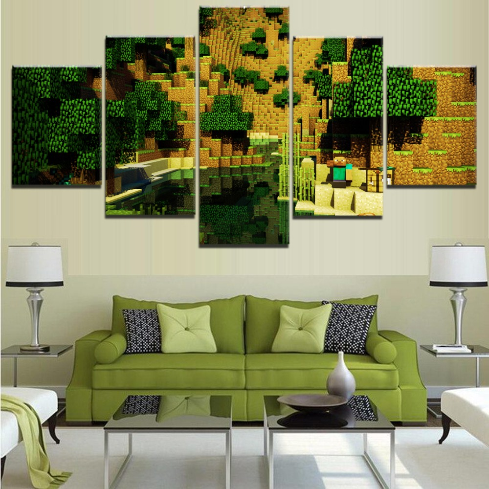 Us 5 1 49 Off Hd Printed Game Poster Modern Wall Art Decorative 5 Pieces Minecraft Landscape Picture Canvas Painting Home Decor Living Room In