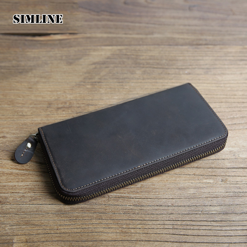 SIMLINE Vintage Handmade 100% Genuine Crazy Horse Leather Cowhide Men Mens Long Style Zipper Wallet Wallets Male Clutch Bag Bags
