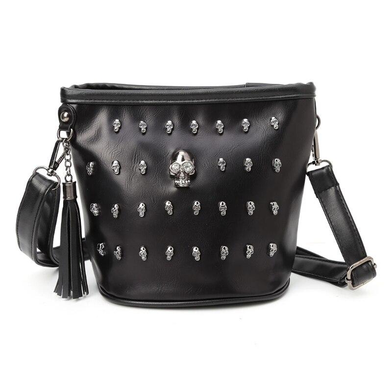 Neue 2018 Mode Frauen Schädel Punk Goth Quaste Messenger Schulter Tasche Crossbody Handtasche