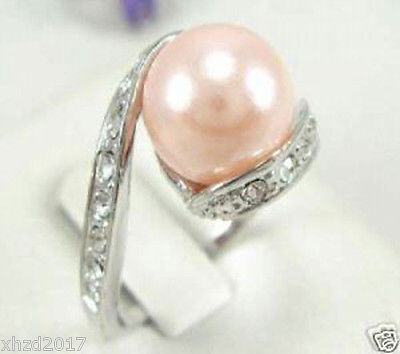 Genuine 8-9 mm AAA+ white pink purple south sea pearl ring 925 silver 6 7 8#
