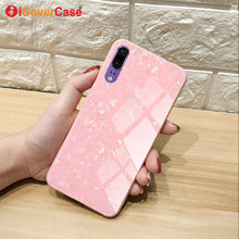 Luxury Bling Shell Tempered Glass Cases For Huawei P20 Lite Pro Case Soft Edge Frame Hard Back Cover Coque Capa Etui For P20lite(China)
