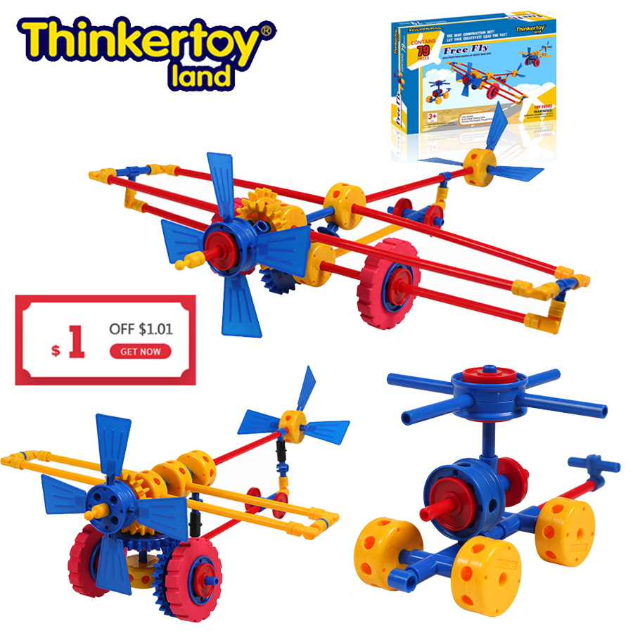 Thinkertoy Land 79 PCS Plane Blocks Creative Construction Toy For Toddles Kids Changeable Educational Building Blocks Bricks Set