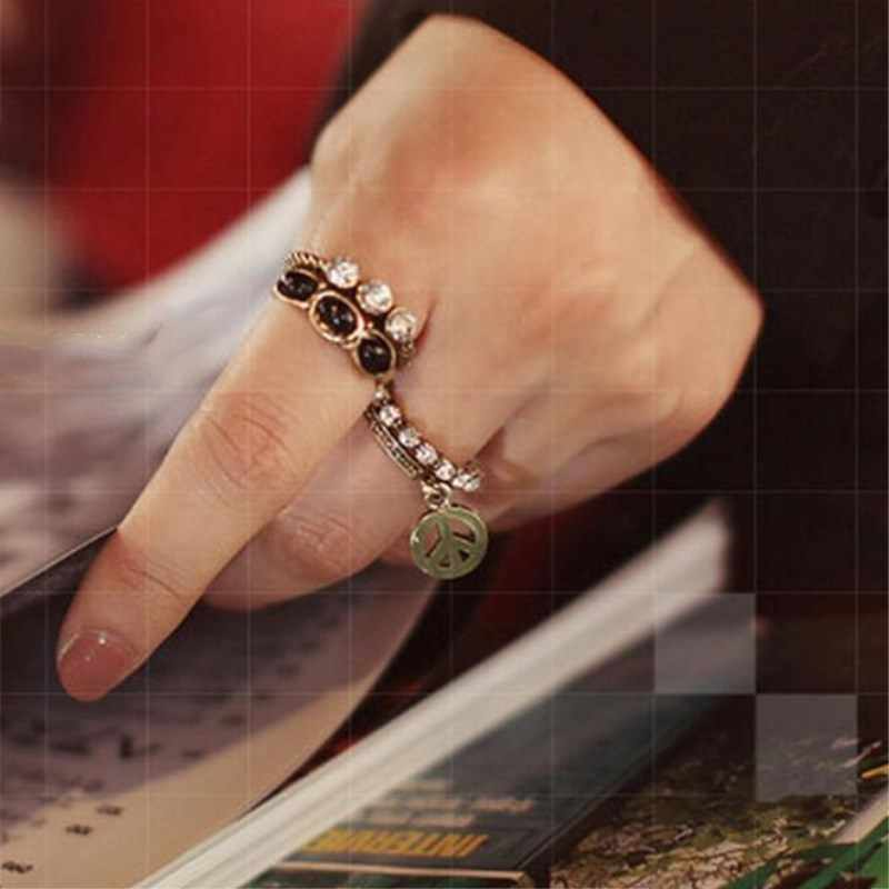 Punk Style Vintage Bronze Silver Rings For Women 5 Pcs/Set Black Gem Rings For Women 8CRD46