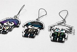 Image 4 - Anime Danganronpa V3: Killing Harmony Kokichi Oma Ki bo Shuichi Pixel Keychain Cartoon Cosplay Keyring  Christmas Gift Pendant