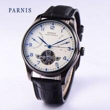 2016 Мода 43 мм Parnis Tourbillon Автоматическая Power Reserve Белый Циферблат Черный PVD Случае Часы мужские Наручные Часы