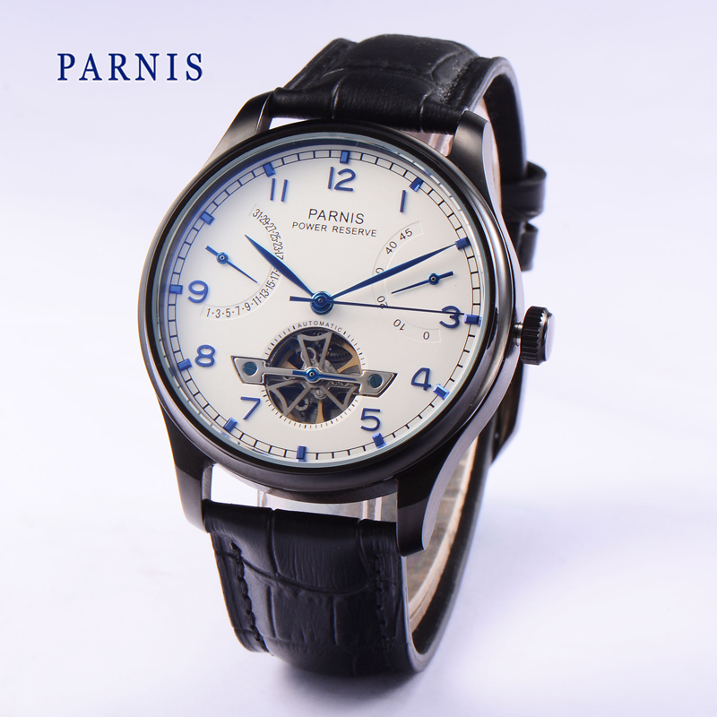 2016 Fashion 43mm Parnis Tourbillon Watches Automatic Power Reserve White Dial Black PVD Watch Case Men's Mechanical Wristwatch