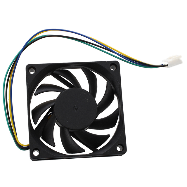hot-70x70x15mm 12V 4 Pins PWM PC Computer Case CPU Cooler Cooling Fan Black 1