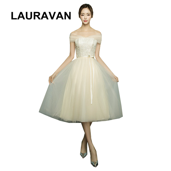 convertible wrap short champagne color tea length bridal ladies   bridesmaid     dresses   tulle bride's maid   dress   for wedding guest
