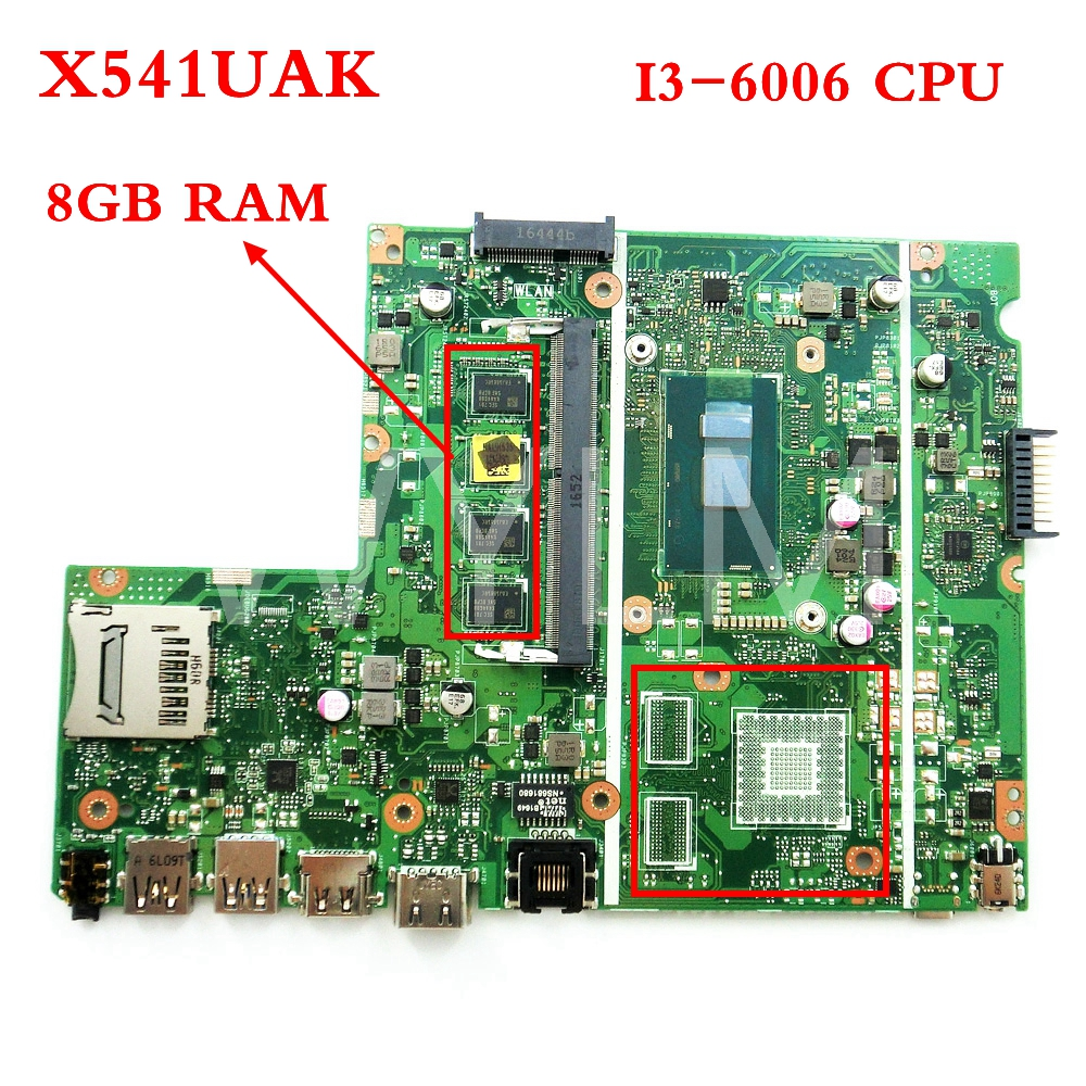 все цены на X541UAK With i3-6006CPU With 8GB memory mainboard REV2.0 For ASUS X541UVK X541UA laptop motherboard Tested Working free shipping онлайн