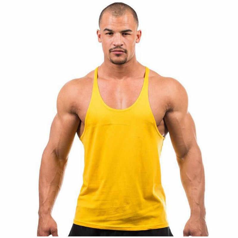 Aliexpress ผู้ชายร้อนสไตล์ basic fitness เพาะกายการฝึกอบรมเสื้อกั๊กผ้าฝ้ายพิมพ์กีฬาธรรมดาสีเสื้อกั๊ก