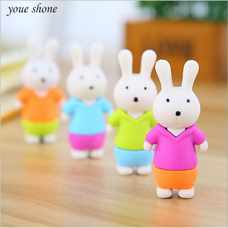 1PCS Kawaii Stationery Animals Bunny Erasers For Student Cartoon Stereo Rubbers Animals Rabbit Rubber Wholesale YOUE SHONE