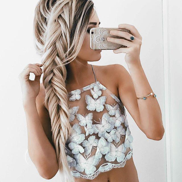 Moda elegante de alta qualidade Verão Sexy halter organza borboleta bordado lace up backless Spaghetti Strap camis Cropped Tops