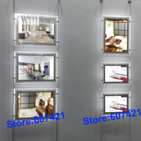 5unit Column A3 Double Sided Magnetic LED Light Boxes Wire Cable Suspension Display Systems