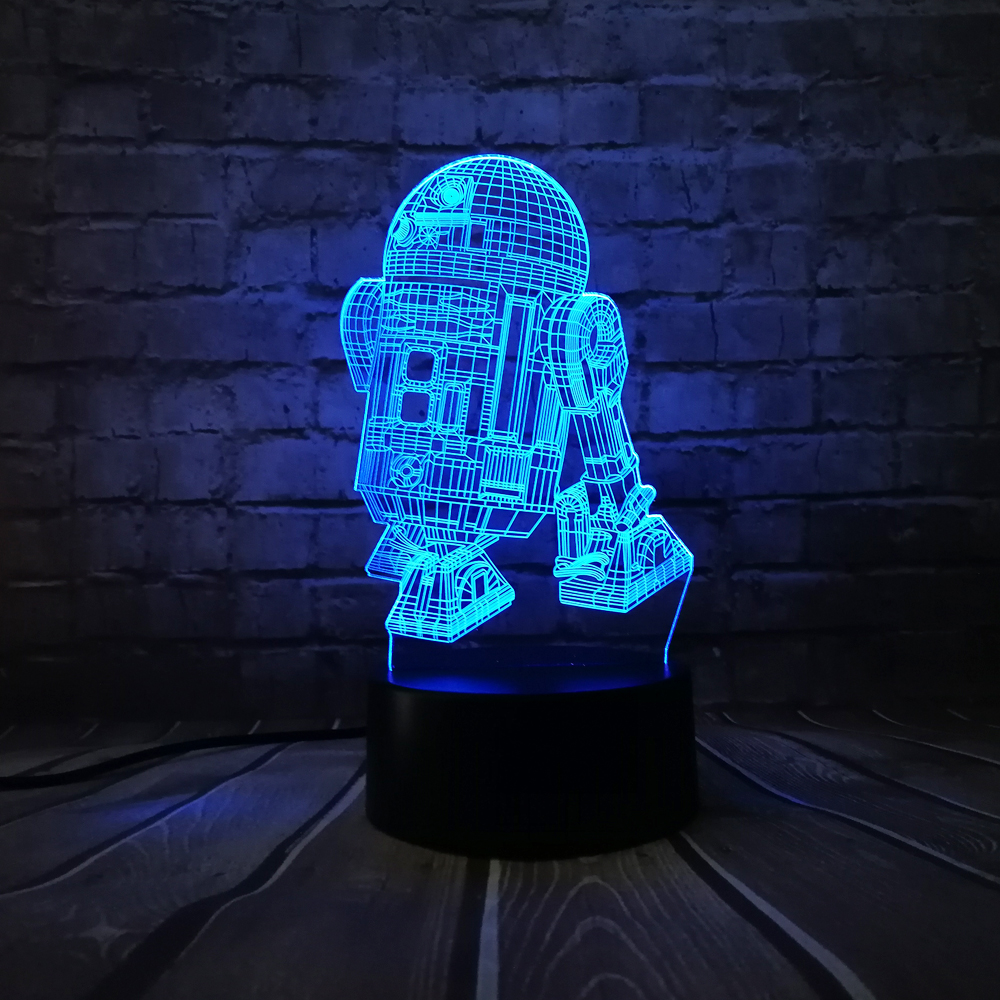 Hot Sale 3D Star Wars Warship Robot Kawaii R2-D2 Lamp 7 Colors Changing Night  Light RGB LED Bulb Touch Remote Control Lighting 3762c6e51