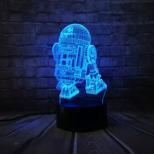 Hot Sale 3D Star Wars Warship Robot Kawaii R2-D2 Lamp 7 Colors Changing Night Light RGB LED Bulb Touch Remote Control Lighting