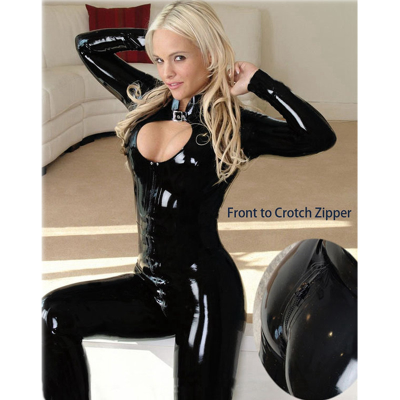Sexy Wetlook Faux Leather Catsuit PVC Latex Bodysuit Front Zipper Open Crotch Clubwear Fetish Hot Erotic Pole Dance Lingerie