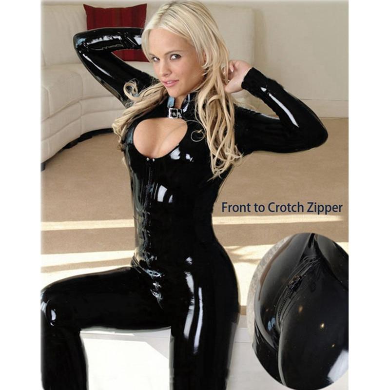 Sexy wetlook Faux Leather Catsuit PVC body lateksowe zamek błyskawiczny z przodu otwórz Crotch Clubwear fetysz hot erotyczne Pole Dance bielizna