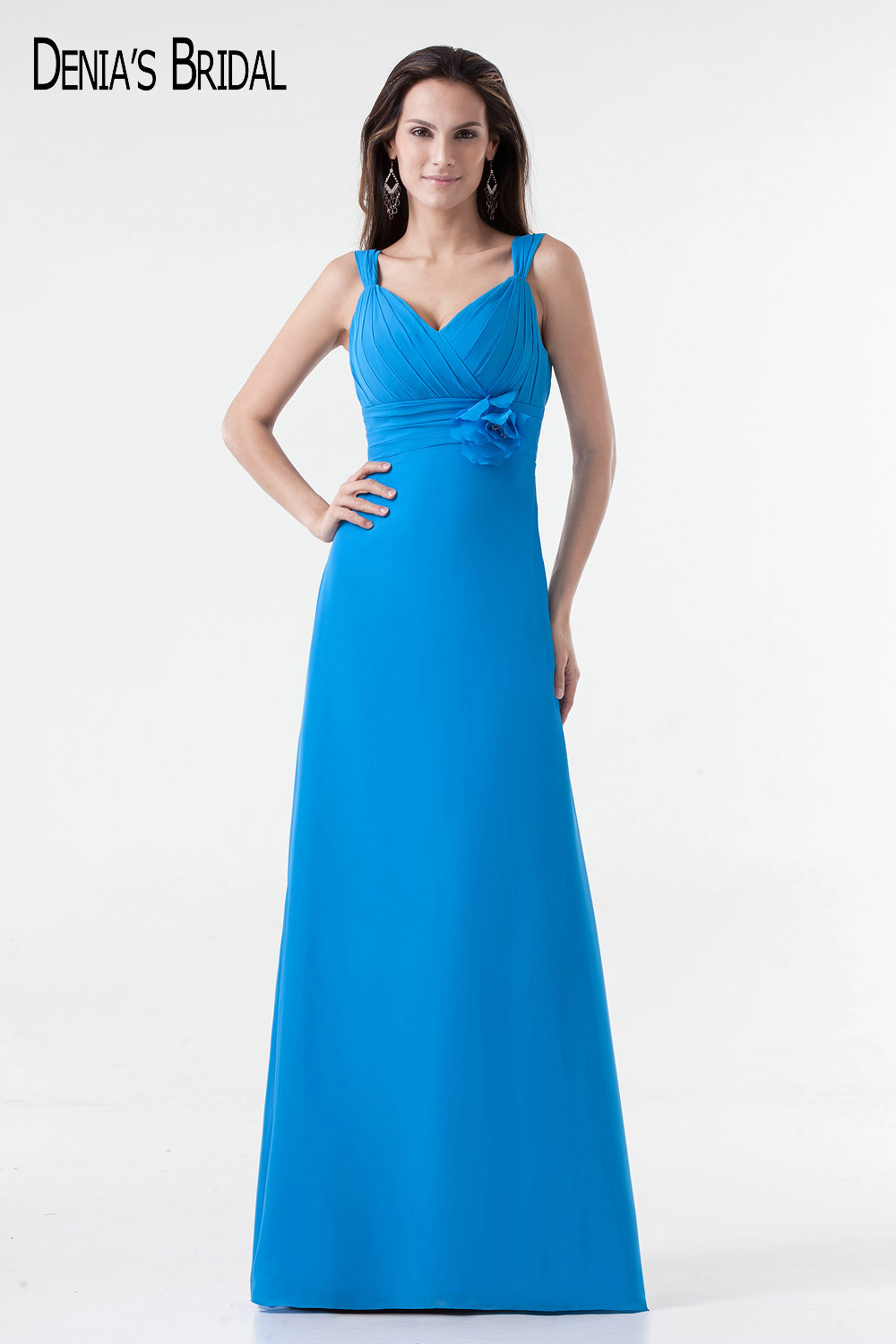 2017 Actual Images A line Blue Evening Dresses with Sweetheart Neckline Chiffon Floor Length Belt Long