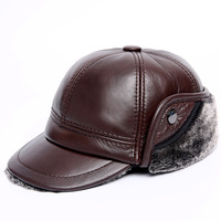 2018 Brown Black Genuine Leather Furry Visor Hat For Men Earflaps Casquette Cap Big size 60CM Senior Men Cowskin Winter Warm Hat