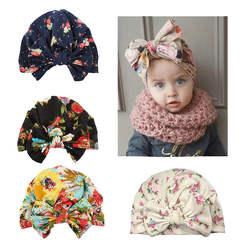 Лидер продаж; новая хлопковая детская шапка для мальчиков и девочек; головной убор с бантом; детская шапка с принтом; Бесплатная доставка