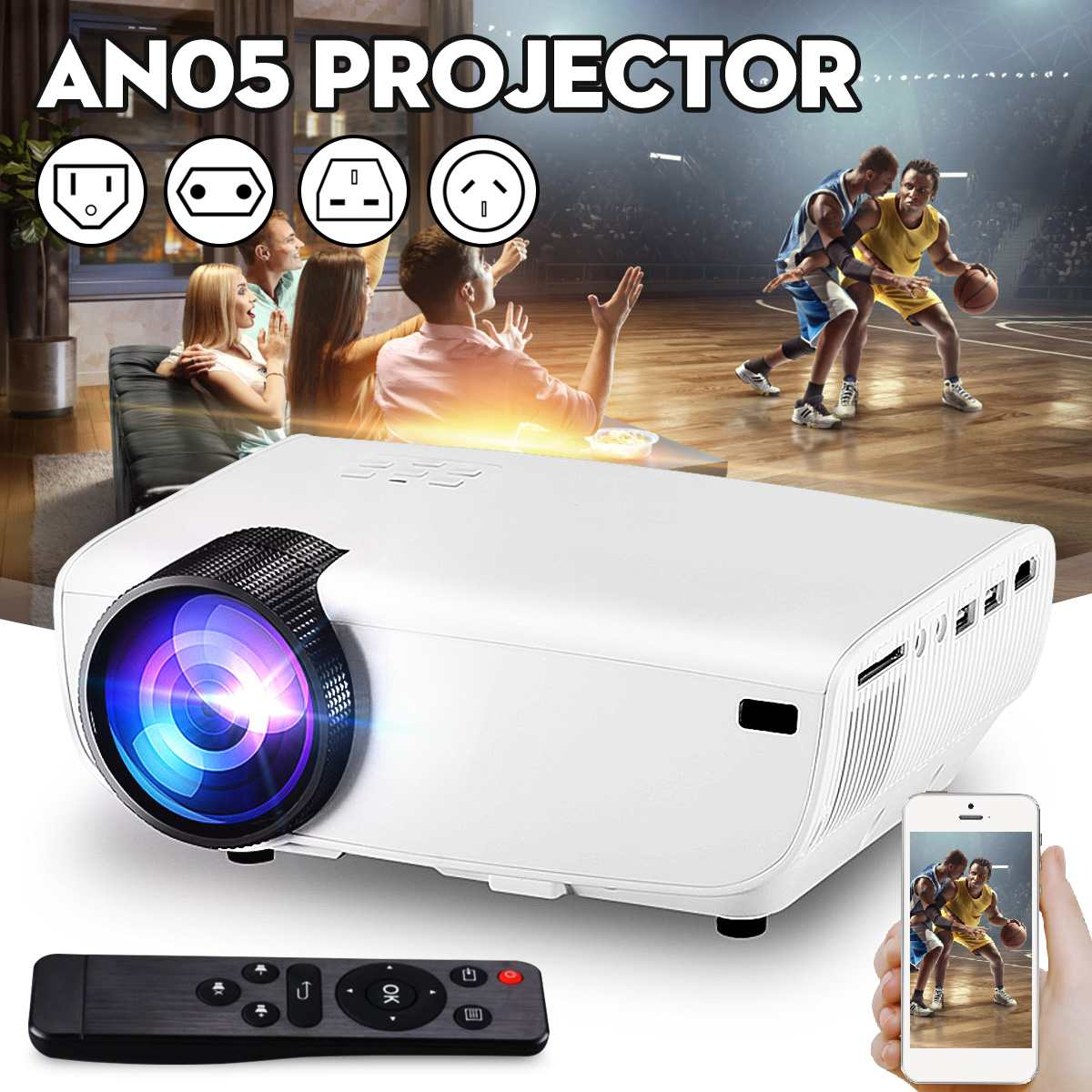 LEORY 2019 Newest <font><b>7000</b></font> <font><b>Lumens</b></font> 3D LED Projector USB Smartphone Display HDMI/USB/AV/SD/U Flash Disk Beamer Home Theater Projectors image