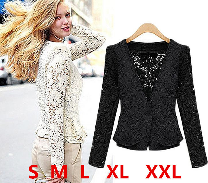 Women Vintage Lace Hollow Out Cardigans Lace Celebrity Formal ...