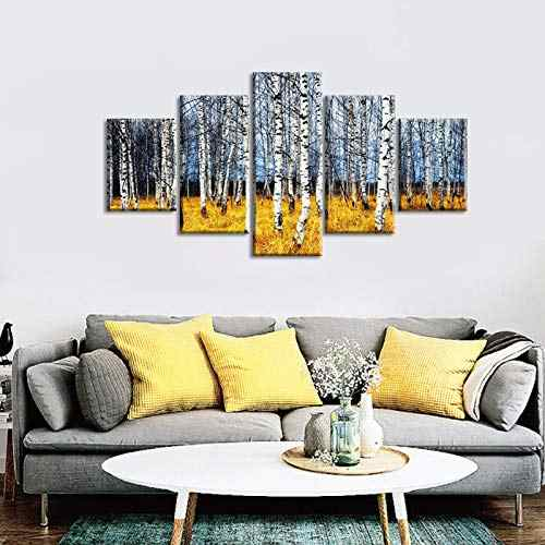 Large White Birch Painting Tree Forest Picture Trees Wall Art Canvas For  Modern Bedroom Living Room Wall Decoration with Frame