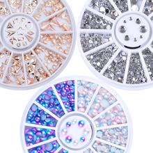 Mixed Nail Rhinestone Rose Gold Silver Rivet Nail Studs Bead 3D Nail Decoration in Wheel Manicure Decor for Nail Art