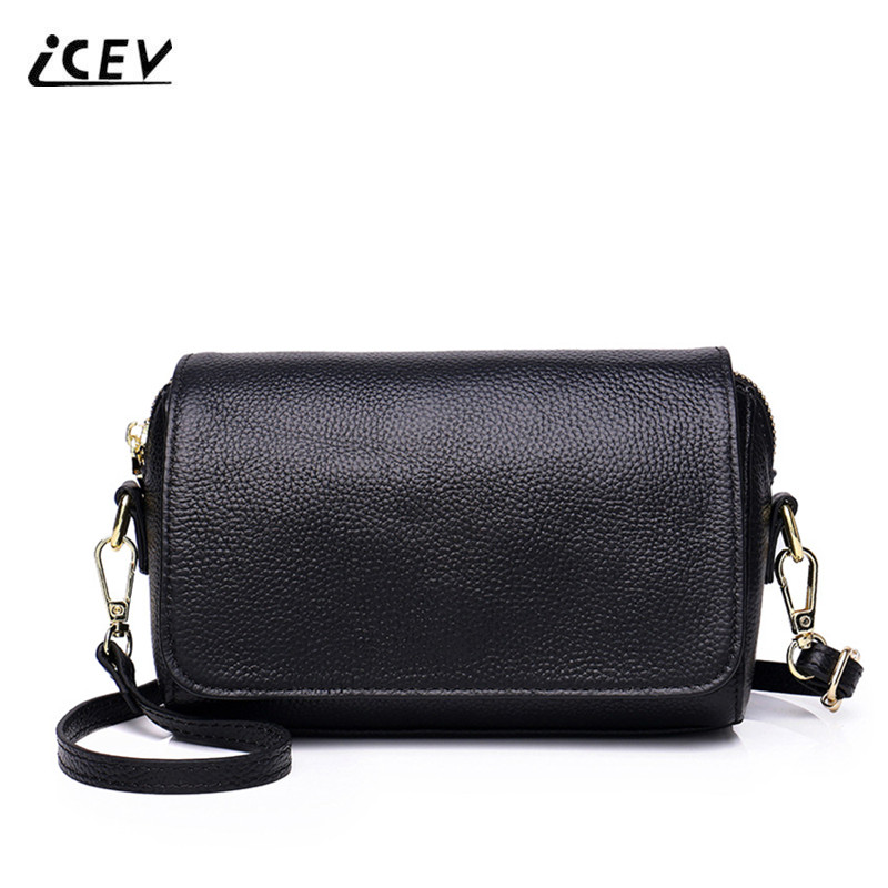 ICEV New Simple Korean Fashion Genuine Leather Bags Handbags Women Famous Brands Cowhide Crossbody Bags for Women Messenger Bags