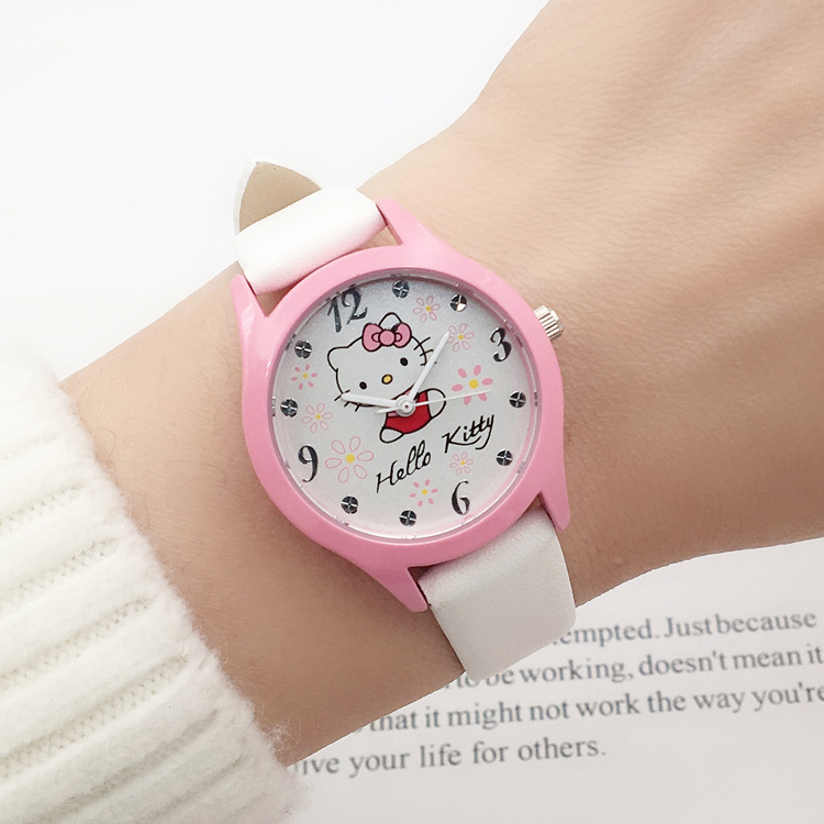 Popular cute children cartoon hello Kitty students wrist watch girls fashion waterproof quartz electronic watch(China)